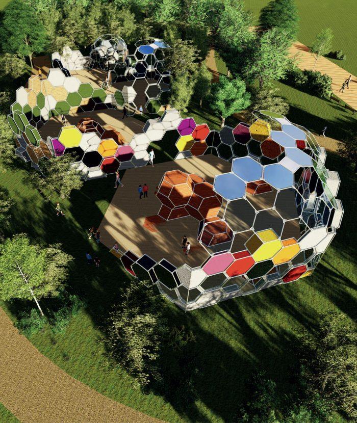 청소년을 위한 모듈형 휴식 및 놀이공간